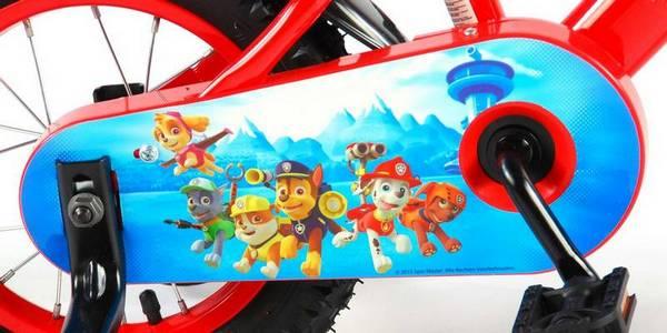Paw Patrol cykel, rød og blå med støttehjul, fod og håndbremse kædeskærm