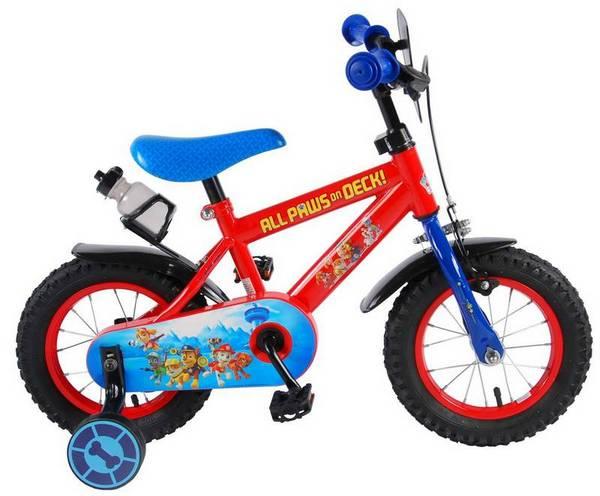 Paw Patrol cykel, rød og blå med støttehjul, fod og håndbremse fra højre