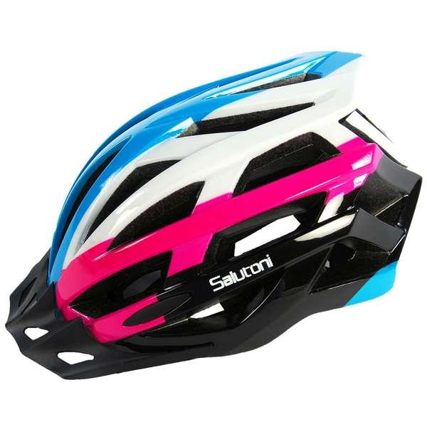 Salutoni dame cykelhjelm i smart sort, pink, hvid og blå farvekombination - Ser fra venstre