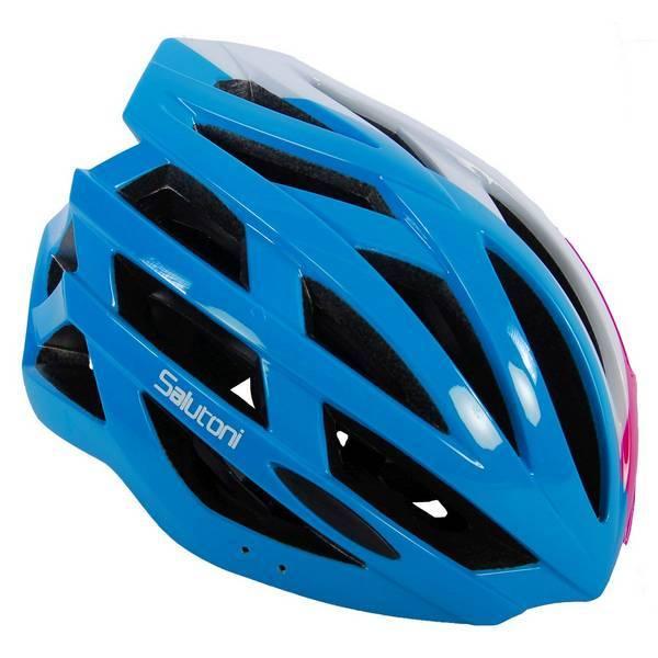 Salutoni dame cykelhjelm i smart sort, pink, hvid og blå farvekombination - Set fra højre
