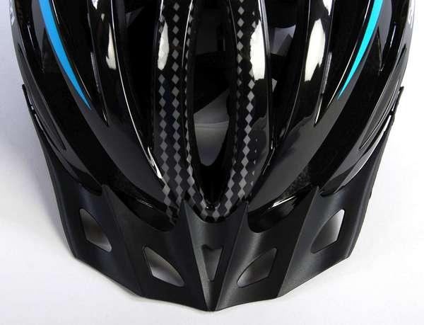 Salutoni herre cykelhjelm i sort og blå - Frontskygge set oppefra