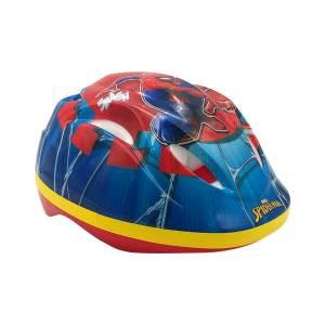 Spiderman cykelhjelm i rød, blå og gul og med en flot Spiderman dekoration. Set fra venstre side forfra