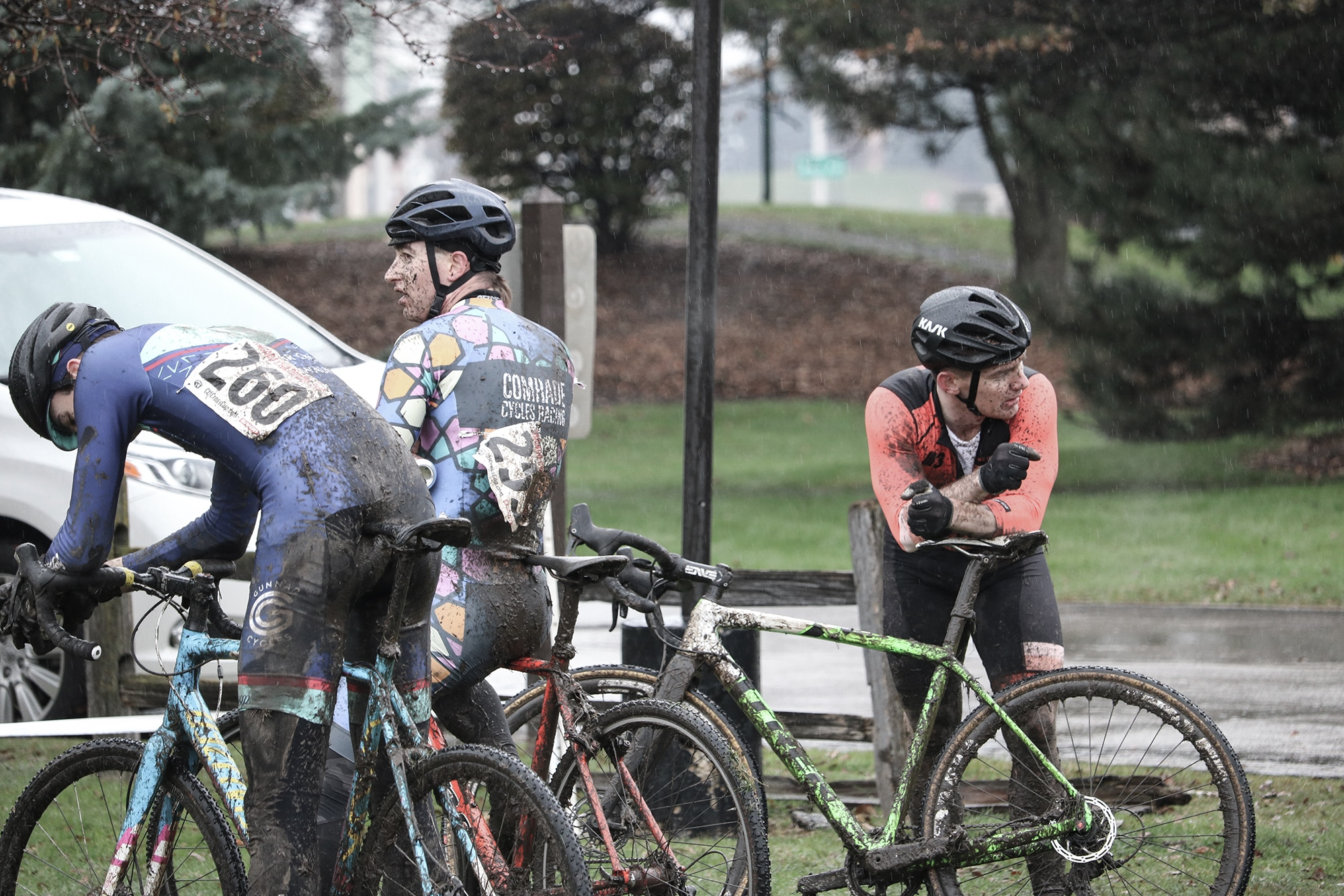 Cyclists after cyclocross race