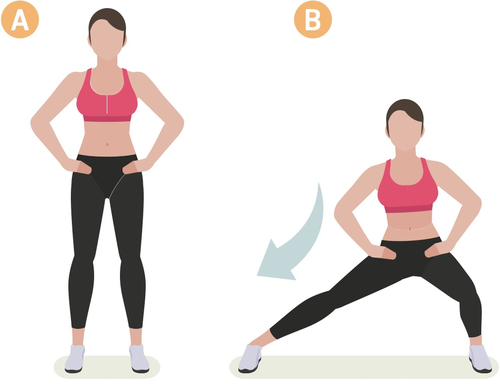 Side squats by woman