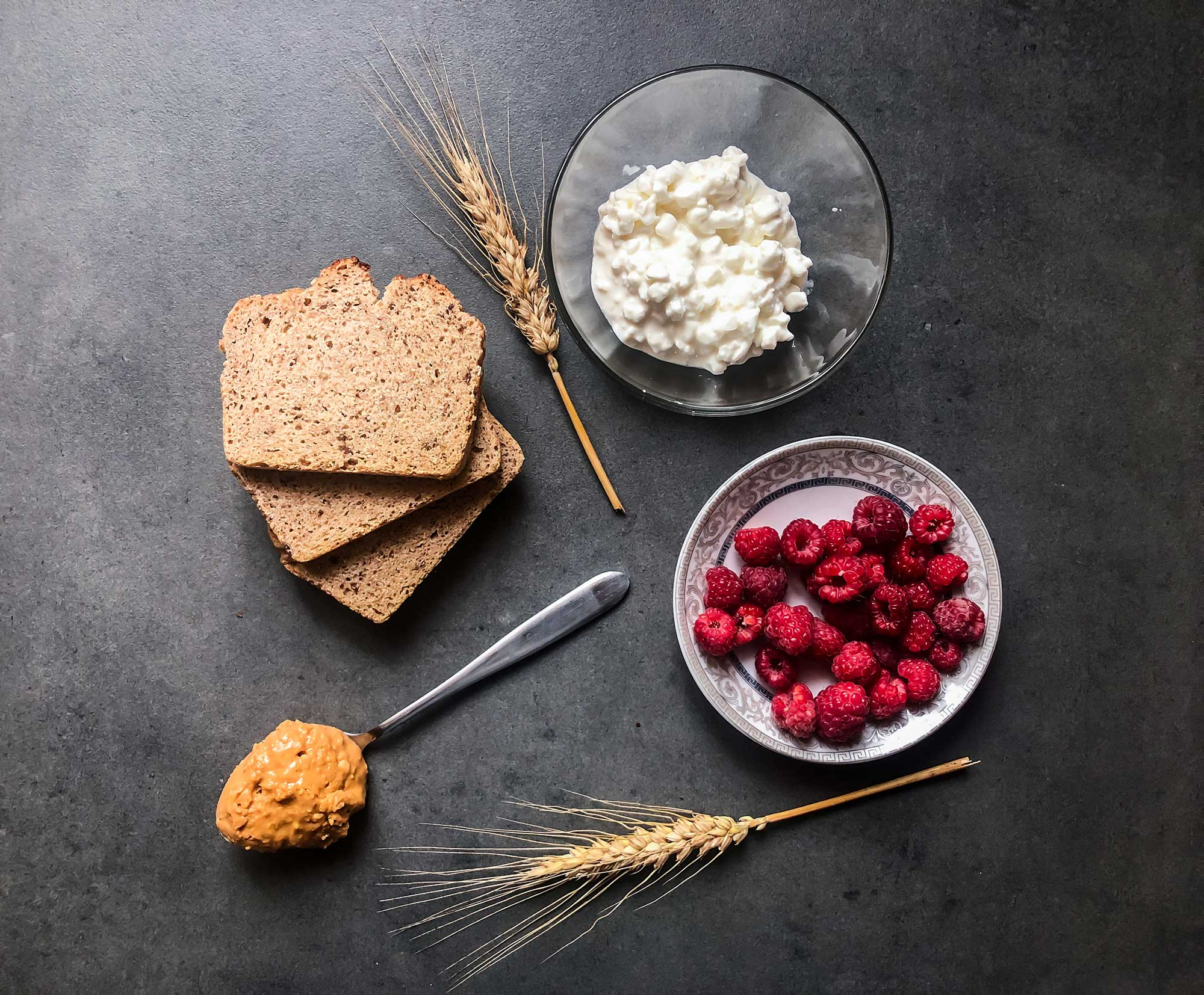 Toasts with cottage cheese ingredients