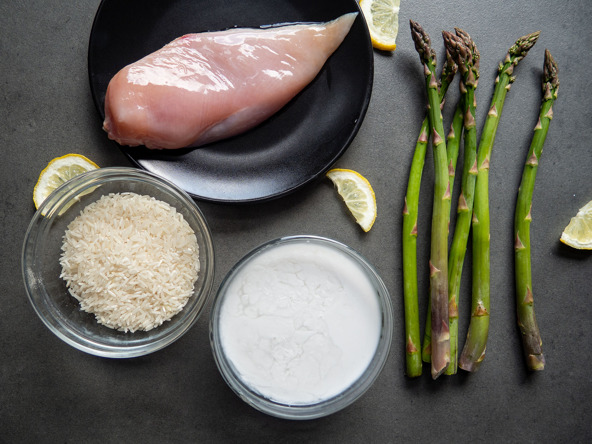Coconut Risotto with Asparagus and Chicken