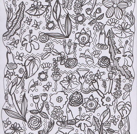coloring pages stylized flowers