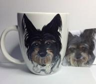 Custom painted pet portrait coffee mugs