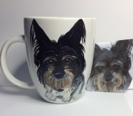 Custom painted pet portrait coffee mugs