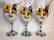 Cat Portrait Wine Glasses