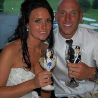 Bride and Groom Portrait Wine Glasses