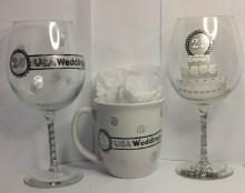 Logo wine glasses and logo coffee mugs