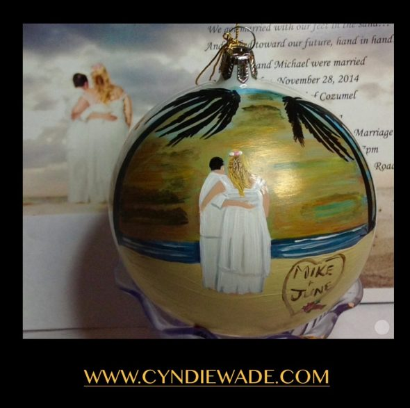 Custom Hand Painted Ornament Beach Wedding