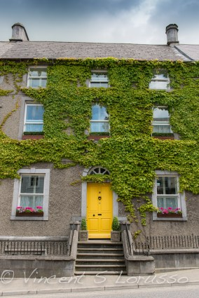 The yellow door, window box flowers, and ivy covered wall just begs to be thesubject of a photograph.