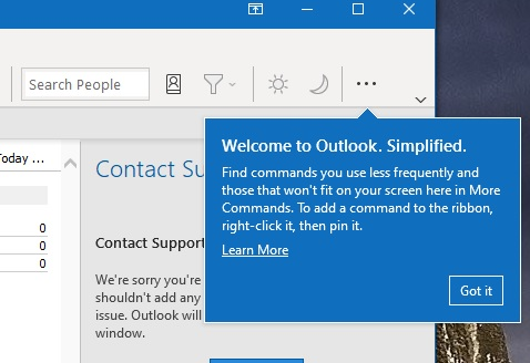 Welcome Outlook simplified