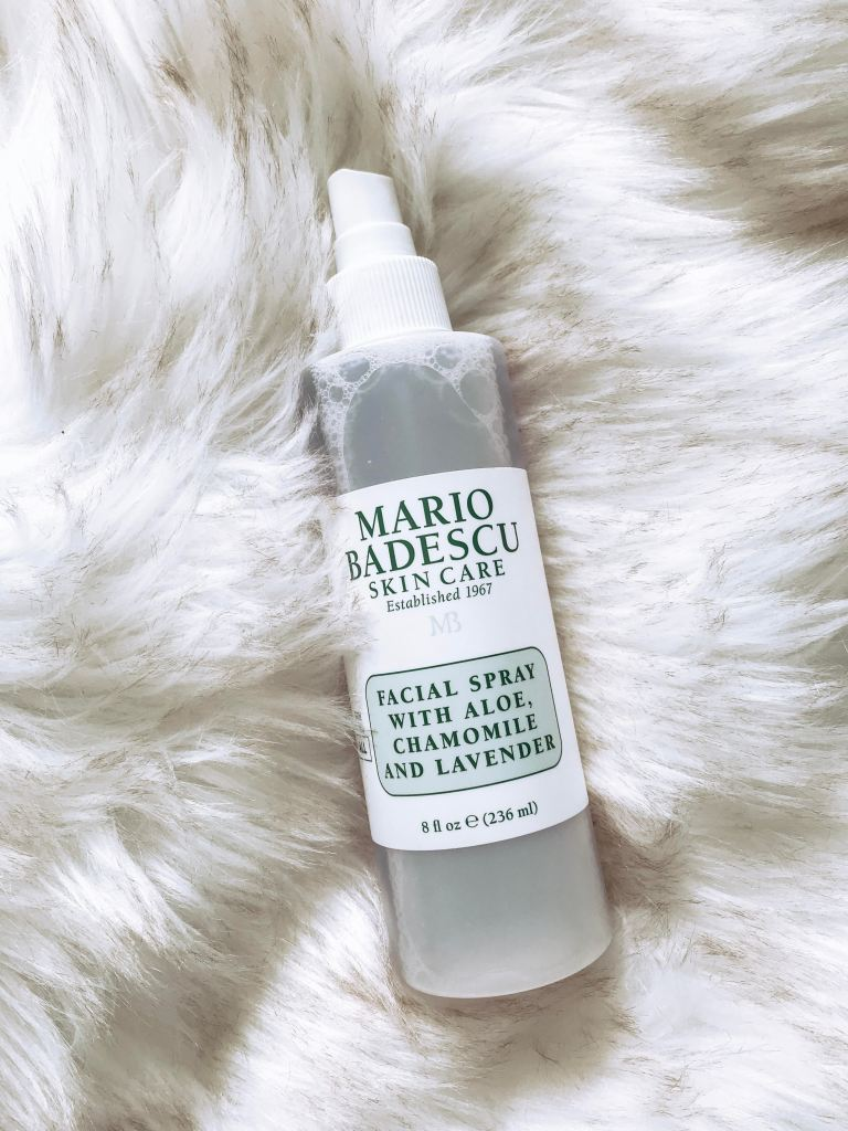 Flatlay of Mario Badescu lavender facial spray. Perfect mist for getting out of the shower or right before bed!