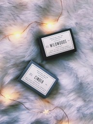 woodlot bars of soap. twinkly lights. fur blanket. flat lay
