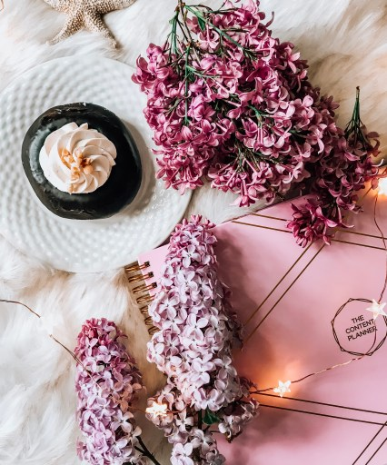 The content planner, donut, lilac furry blanket twinkly lights. flat lay. How to Start a Money-Making Blog on a Budget