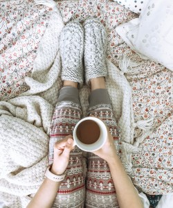 cozy pjs, warm blanket, bead spread. cup of coffee. 50+ fall content ideas