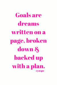 goals are dreams written on a page, broken down & backed up with a plan. pink abril fatface font.