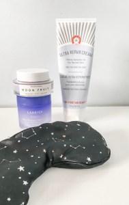 herbivore moonfruit, sleeping mask, laneige sleeping mask, first aid beauty intense hydration cream. nighttime skincare routine.