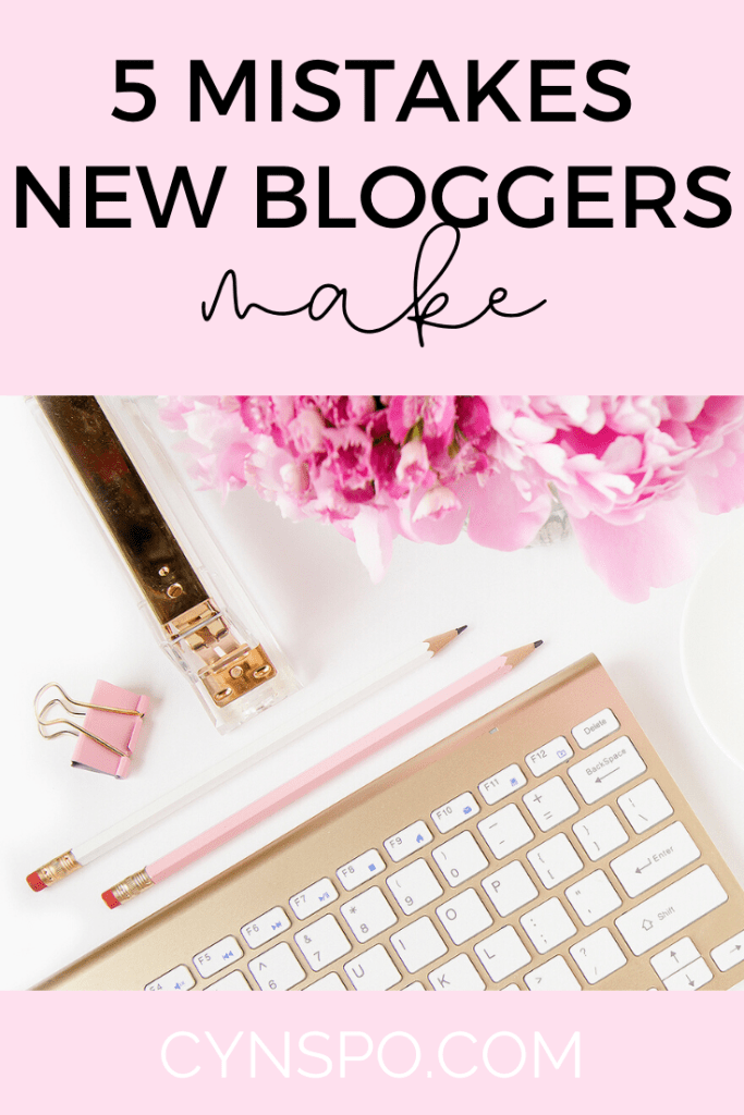 5 mistakes new bloggers make. pink and gold flatlay
