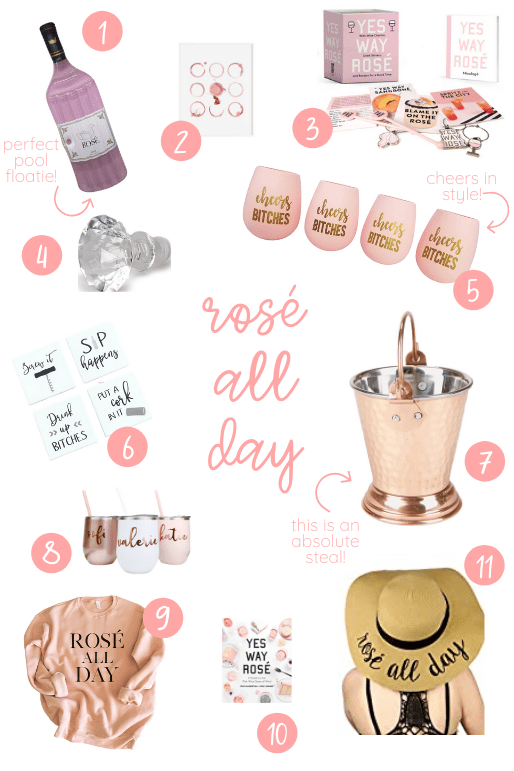 rosé item round up post. rosé pool floatie, rosé tumblers and rubber wine glasses, wine cooler bucket,  rosé all day hat and sweater, wine sayings coasters, yes way rosé wine kit. 7 Perfect-For-Summer Rosés to Help You Celebrate National Rosé Day!