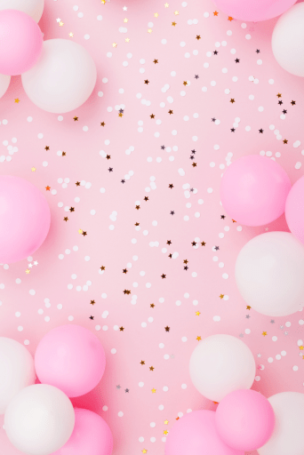pink balloons, pink background, star confetti.