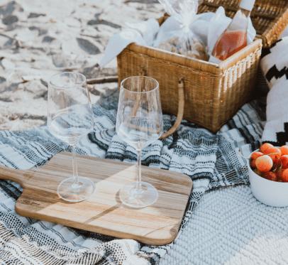 picnic set up at the beach
