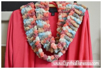Knitted Scarf with Pom Pom Yarn