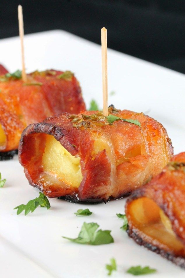 Sriracha Honey Glazed Bacon Wrapped Pineapple