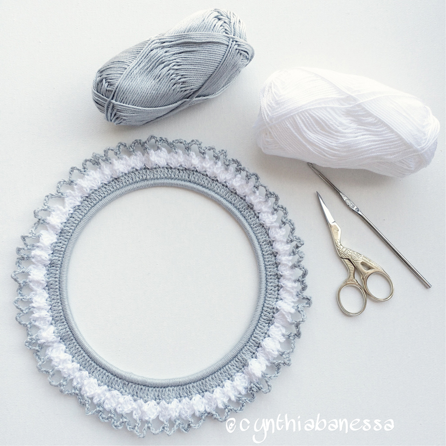 Gray and White Crochet Frame 7