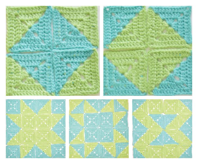 Different designs using 2 color granny square