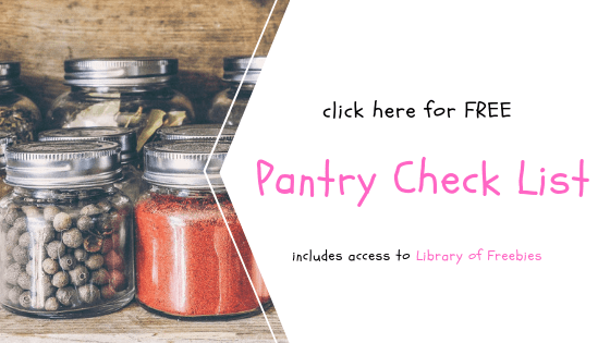 Free Pantry Check List | 85 Foods To Keep Your Pantry Well Stocked. Click through to snag your freebie!