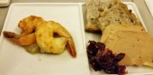 Air France foie gras and shrimp