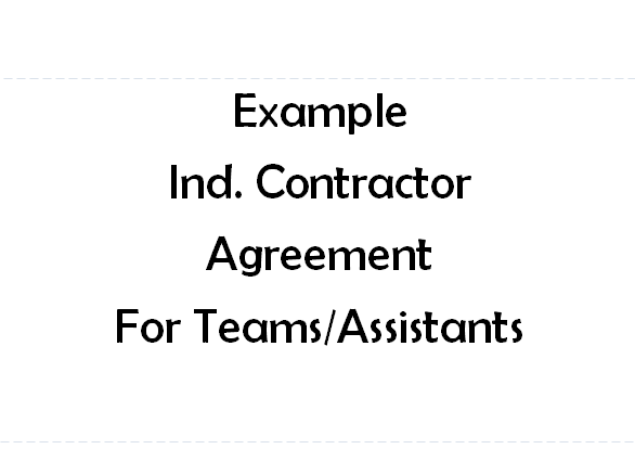 Example Independent Contractor Agreement for team or