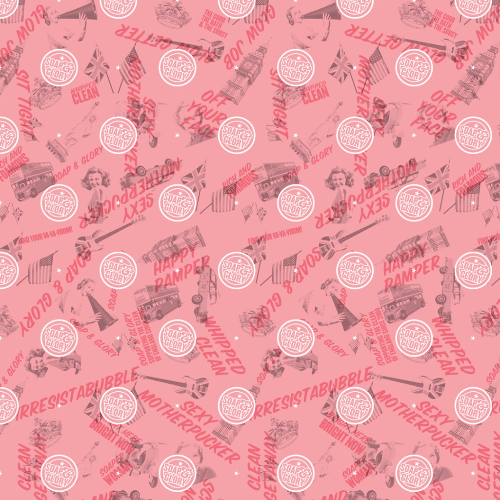 Soap and Glory- US Promotional Garment fabric print design