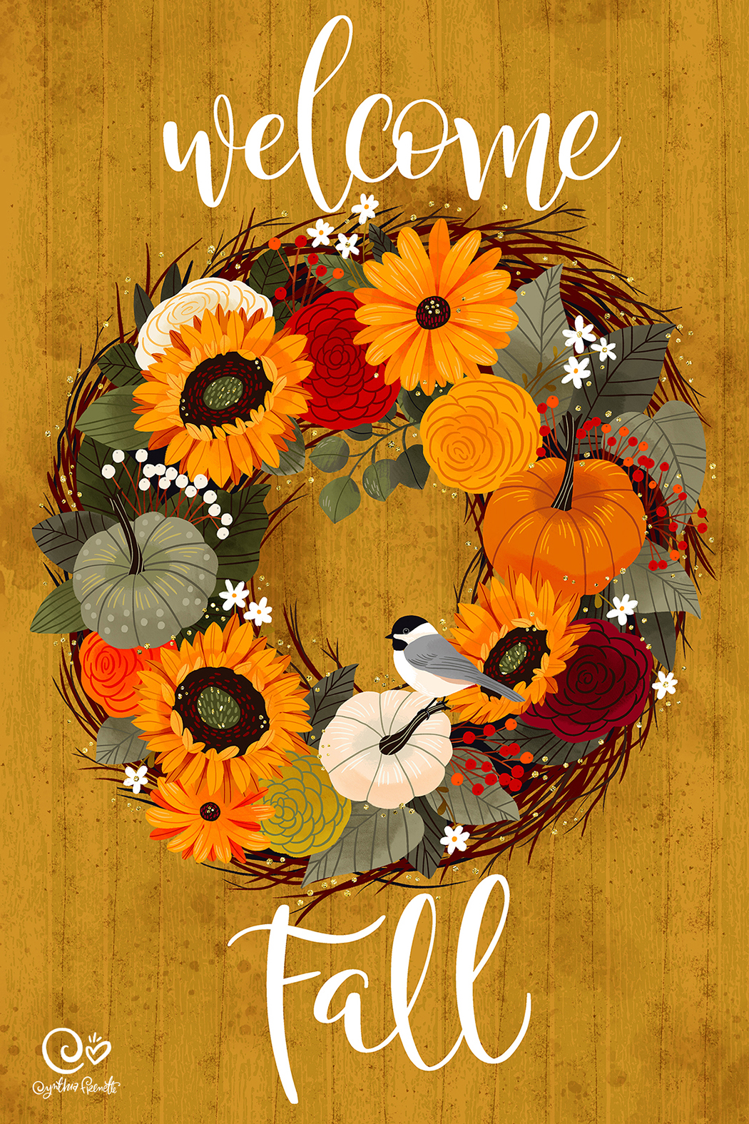 fall flowers and pumpkins wreath