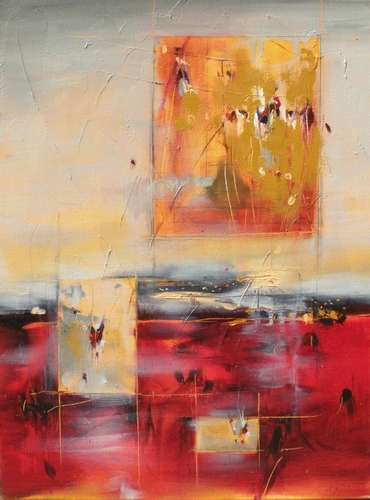 Segmentation by Cynthia Ligeros, red abstract art painting