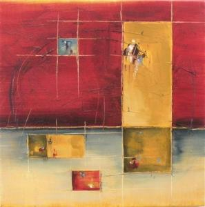 """Convergence 12"""" x 12"""" Abstract Oil Painting by Cynthia Ligeros"""
