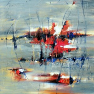 """Silent Frost 24"""" x 24"""" Abstract Oil Painting by Cynthia Ligeros"""