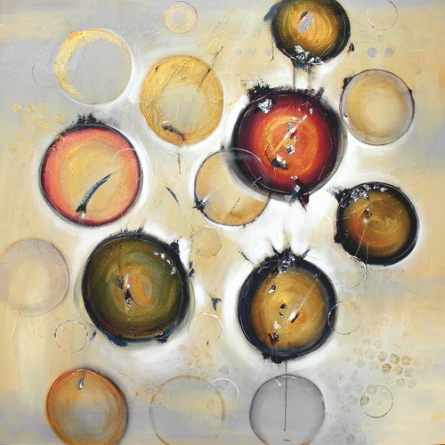 """Pieces of Light 48"""" x 48"""" Abstract Oil and Silver Leaf $3800."""