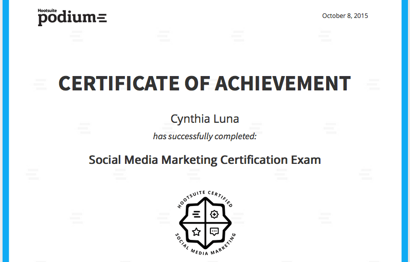 Social Sunday! It's official: I'm Social Media Marketing Certified!