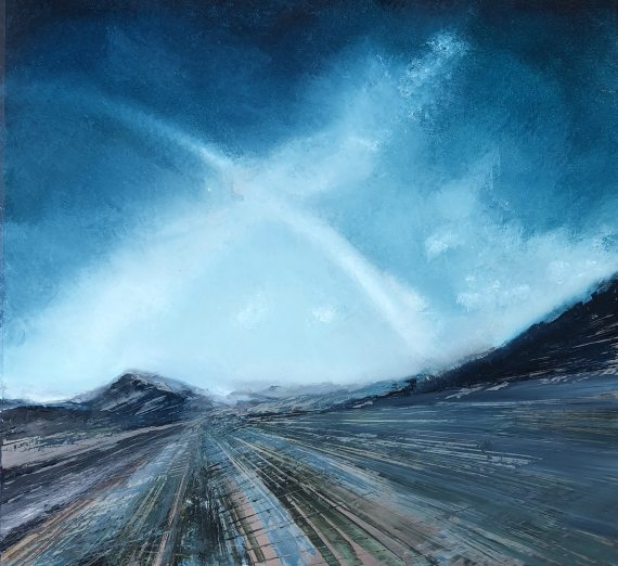 Oil on metal by Cynthia McLoughlin, deep blue sky over a tilted blue/grey road to infinity.