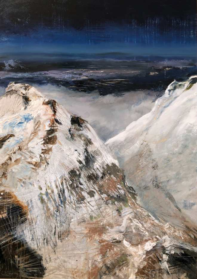 Oil painting on metal of snow covered mountains looking over clouds and indigo land below.