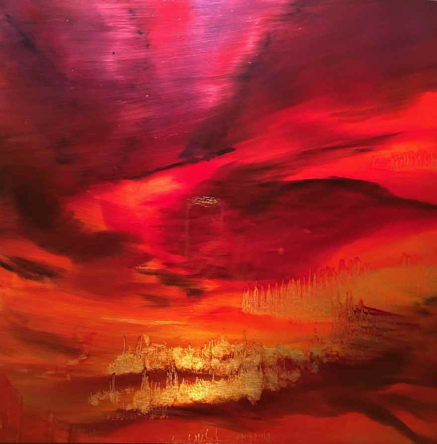 "Red Sky at Night #2, oil paint on a brushed aluminum panel, 27"" x 27"", $2250"