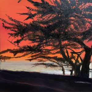 Original oil painting on metal by Cynthia McLoughlin, orange sky with the silhouette of Carmel's special pines, silver water shimmers on the horizon.