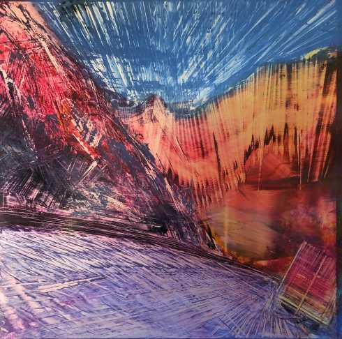 Oil painting by Cynthia McLoughlin, blue sky over a purple road winding through a red and amber abstract mountain pass.