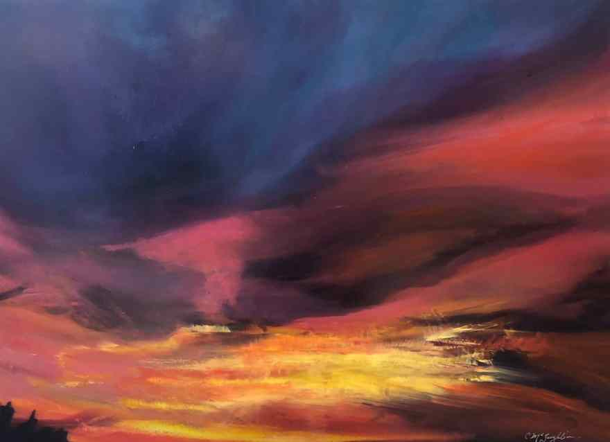 Oil on metal, painting by Cynthia McLoughlin of a rich sunset with purple, pink, orange and yellow sky.