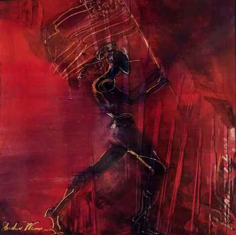 "Shadow Woman - Patriot, oil on aluminum,  27"" x 27"", $2250"
